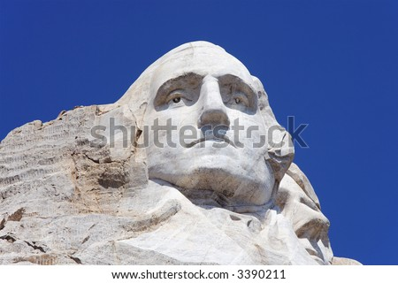 Detailed view of George Washington on Mount Rushmore. - stock photo