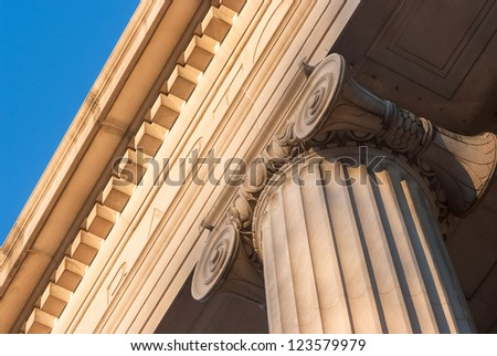 Detailed view of Greek style architectural column - stock photo