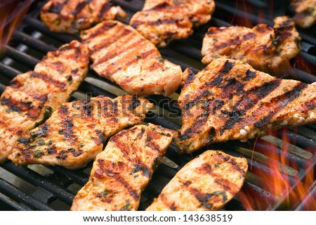 Detailed view of grilled chicken - stock photo