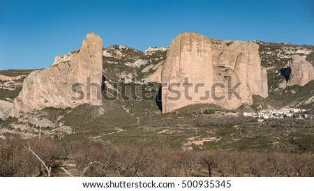 Detailed view of Mallos of Riglos against blue sky, Huesca (Spain)