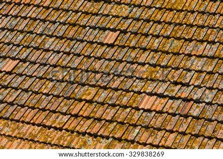 Detailed view of orange tile rooftops in Porto old town, Portugal - stock photo