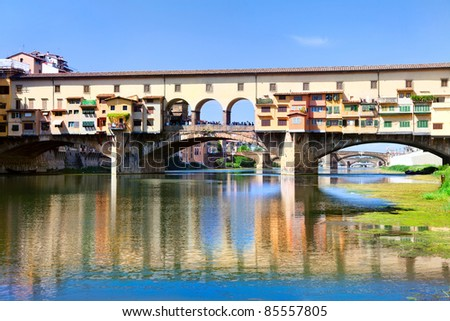 Detailed view of Ponte Vecchio bridge over Arno river in Florence, Italy - stock photo