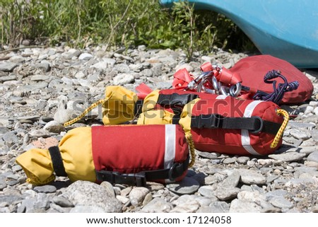 detailed view of river rescue throw lines - stock photo