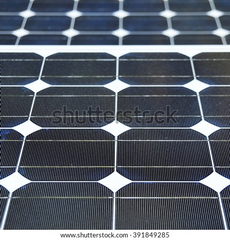 Detailed View of Solar Panels - stock photo