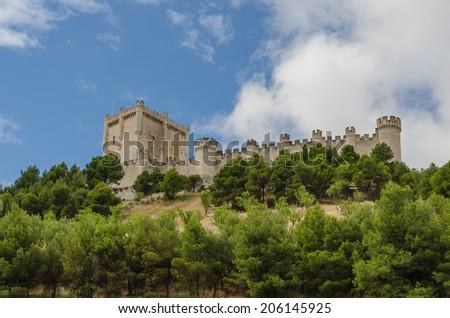 Detailed view of the castle of Penafiel. Peñafiel, Valladolid, Ribera del Duero, Castilla y Leon, Spain.  - stock photo