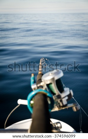 Detailed view of the fishing rod from the boat