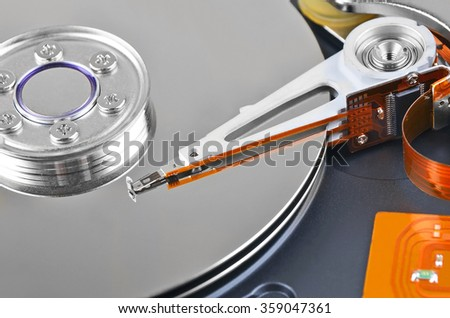 Detailed view of the inside of a hard disk drive (HDD), DOF