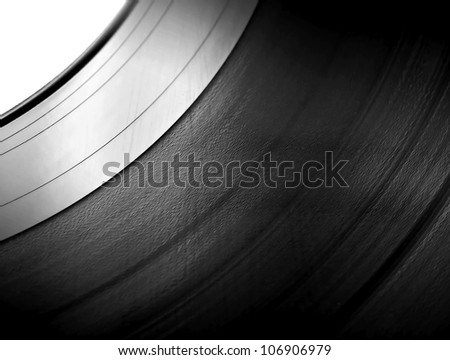 Detailed vinyl LP closeup background with shallow depth of field - stock photo