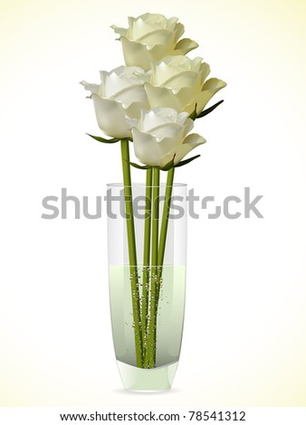 Detailed white and ivory roses in a glass vase
