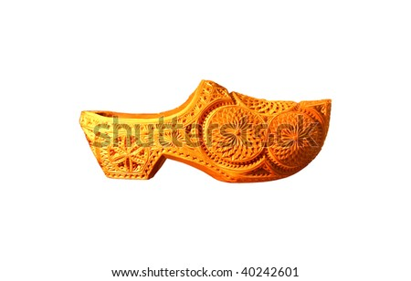 Detailed wooden Dutch clog shoes
