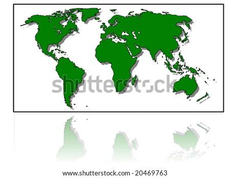 detailed world map - stock photo