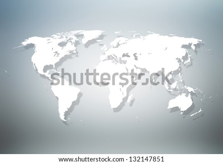 Detailed world map in gray background - stock photo