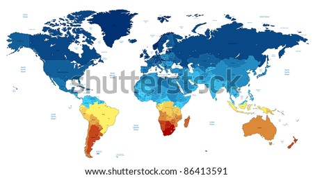 Detailed World map of blue and yellow colors. Raster version. Vector version is also available. - stock photo