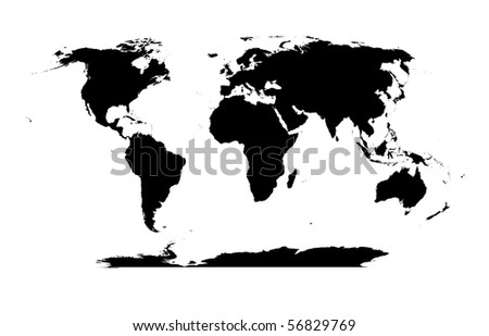 detailed World map silhouette | for vector version see my galley - stock photo