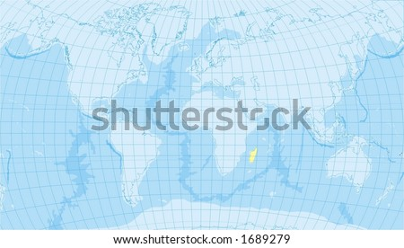 detailed world map with countries, oceans, borders,  meridians - stock photo