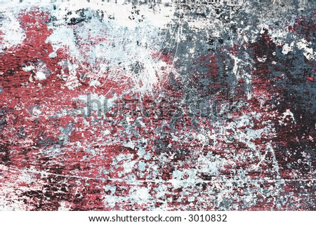 Detailed worn paint. Grungy red, blue and white texture. - stock photo