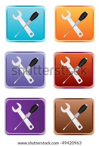Detailed wrench and screwdriver web button - stock photo