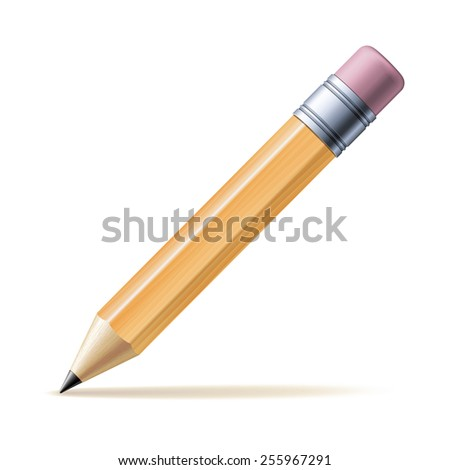 Detailed yellow pencil isolated on white background.