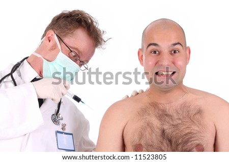 details aggressive doctor injecting a funk patient - stock photo