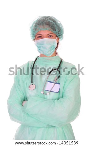 Details an successful healthcare worker on white background