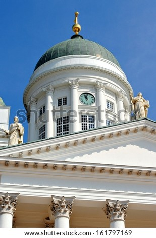 Details and some of Helsinki Cathedral - stock photo