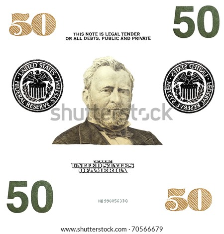 details 50 $ banknote isolated on white background - stock photo