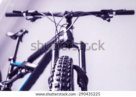 details bike front wheel tire steering wheel - stock photo