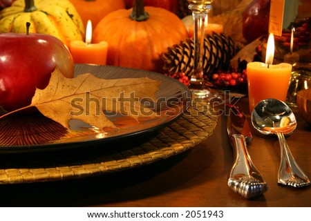 Details for aThanksgiving table - stock photo