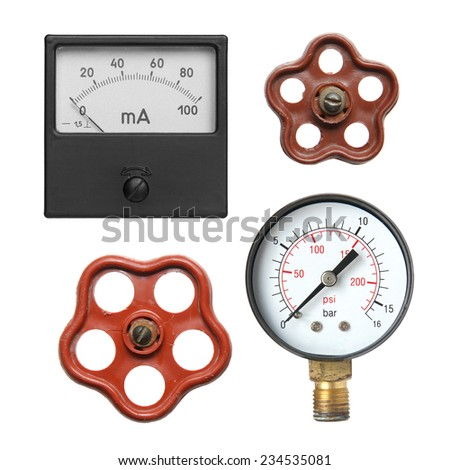 Details for style steampunk on a white background. - stock photo