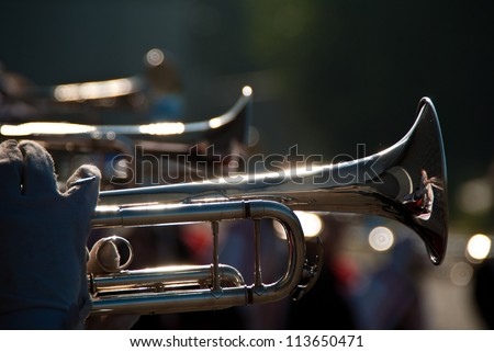 Details form a Show and Marchingband, Uniforms and Instruments. - stock photo