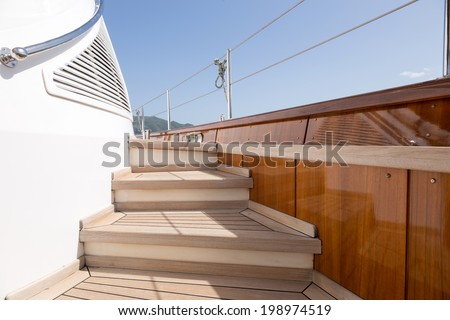 details from a luxury sail boat  - stock photo