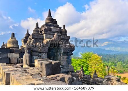 Details in Borobudur unesco heritage site, Java, Indonesia - stock photo