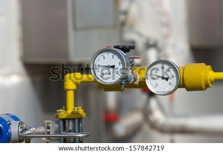 Details in gas production industry - stock photo