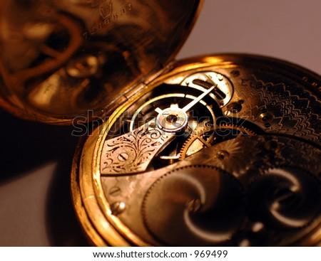 Details Inside a Pocket Watch - stock photo