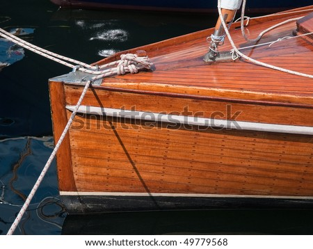 Details of a classic beautiful handcraft wooden sailing yacht background