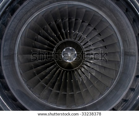 Details of a commercial jet engine. - stock photo