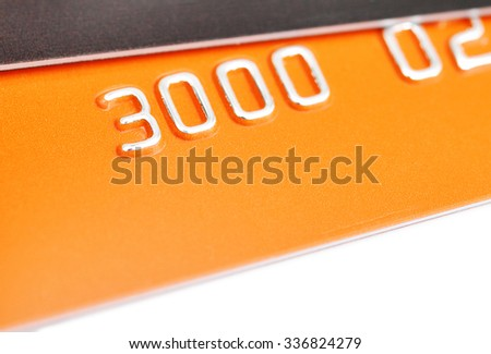Details of a credit card with some numbers, Macro with extremely shallow dof - stock photo