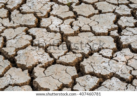 Details of a dried cracked earth soil. - stock photo