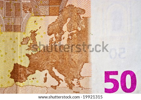 Details of a 50 euros banknote - stock photo