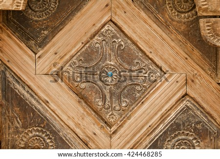 Details of a fine wood carving art. An Ottoman art and craft. - stock photo