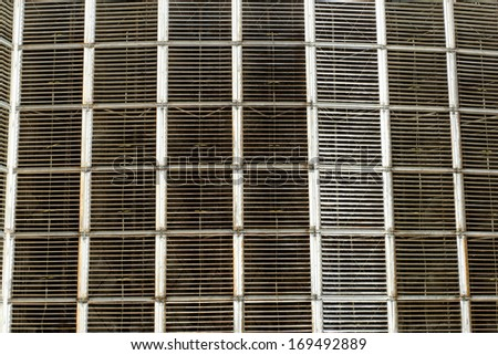 Details of a huge cooling towers of a power plant (cooling fans) - stock photo