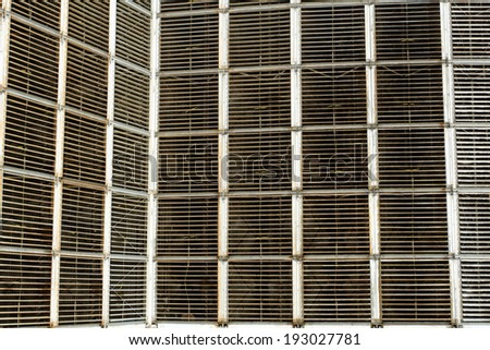 Details of a huge cooling towers of a power plant (cooling fins) - stock photo