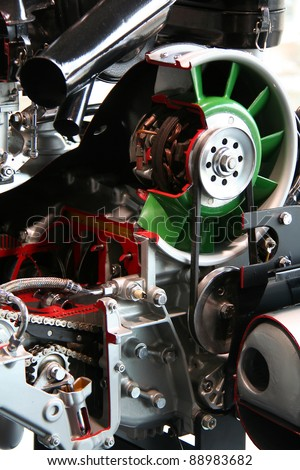 details of a powerful racing car engine - stock photo