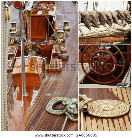 Details of a sail boat in old style - stock photo