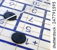 Details of a shuffleboard game - stock photo