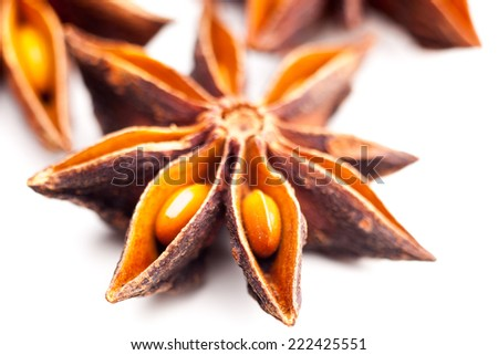 Details of a star anise isolated on white background - stock photo