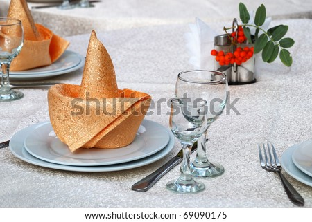 Details of a table set for fine dining - stock photo