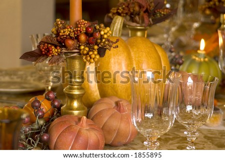 Details of a Thanksgiving table. - stock photo