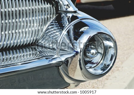 Details of a vintage Buick Roadmaster on display at a car show. - stock photo