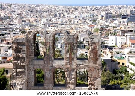 details of acropolis theater, Acropolis in Athens â?? Greece - stock photo